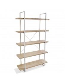 Estantería metálica con 5 estantes de madera (XL)