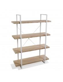 Estantería metálica con 4 estantes de madera (XL)