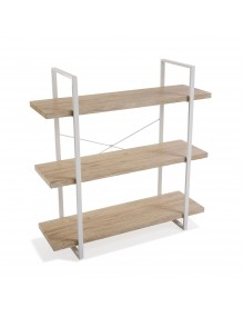 Estantería metálica con 3 estantes de madera (XL)