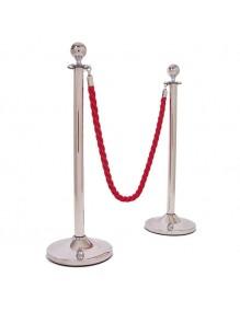 Dos postes separadores de inoxidable con cordón y cabezal redondo