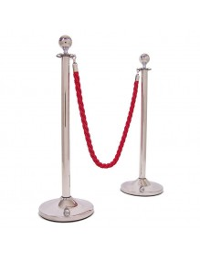 Two stainless steel separator posts with cord and round head