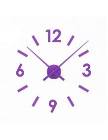 Vinyl wall clock with purple adhesive