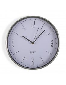 Reloj de pared metálico en color blanco de 30 cm de diámetro.