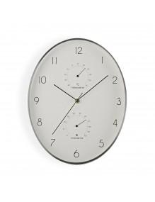 Reloj de pared metálico ovalado en color plata