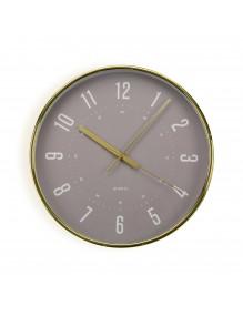 Reloj de pared de plástico en color oro de 30 cm de diámetro