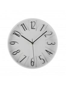 Reloj de pared de plástico en color blanco y negro de 30 cm de diámetro