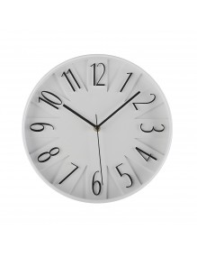 White plastic wall clock with a diameter of 30 cm. - Black / White