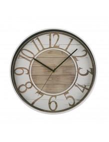 Reloj de pared de plástico en color blanco y marrón de 30 cm de diámetro