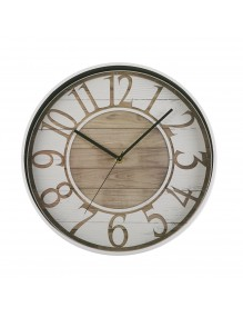 White plastic wall clock with a diameter of 30 cm. - Black / Brown