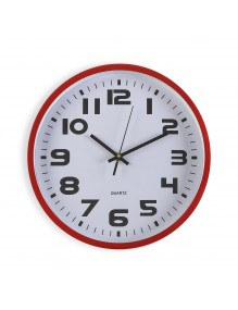 Red plastic wall clock with a diameter of 30 cm.