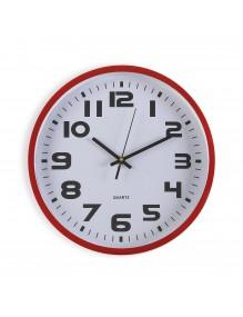 Reloj de pared de plástico en color rojo de 30.5 cm de diámetro