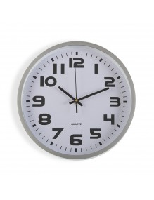Silber plastic wall clock with a diameter of 30.5 cm