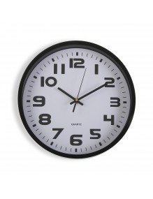 Black plastic wall clock with a diameter of 30.5 cm