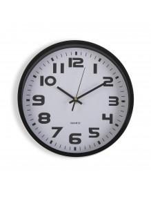 Reloj de pared de plástico en color negro de 30.5 cm de diámetro