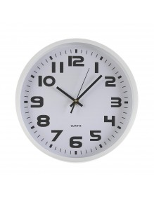 White plastic wall clock with a diameter of 30.5 cm