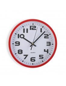 Red plastic wall clock with a diameter of 25 cm