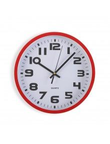 Reloj de pared de plástico en color rojo de 25 cm de diámetro