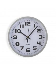 Reloj de pared de plástico en color plata de 25 cm de diámetro