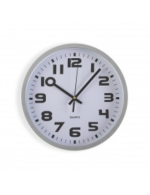 Silber plastic wall clock with a diameter of 25 cm