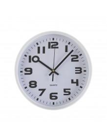 Reloj de pared de plástico en color blanco de 25 cm de diámetro