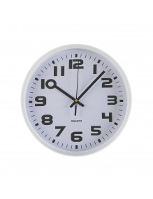 White plastic wall clock with a diameter of 25 cm