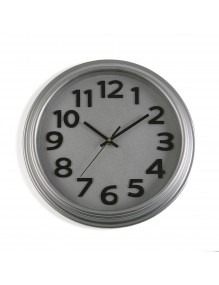 Silber plastic wall clock with a diameter of 32.7 cm