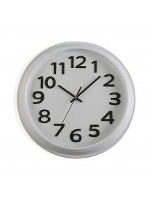 White plastic wall clock with a diameter of 32.7 cm