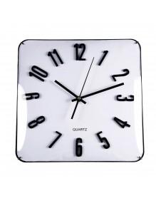 Reloj cuadrado de pared de cristal 31 cm en color blanco