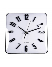 Square, white wall clock with a diameter of 31 cm