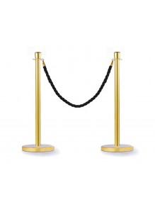 Dos postes separadores dorados con cuerda de 2.5 m y cabezal cónico