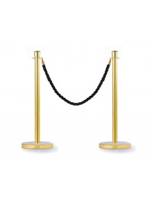 Two gold separator posts with a conical head and a rope (2.5m cord)