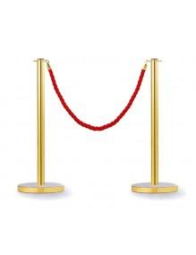 Dos postes separadores dorados con cuerda de 2.5 metros y cabezal plano