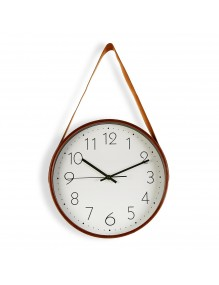 Reloj de pared de madera con correa de cuero