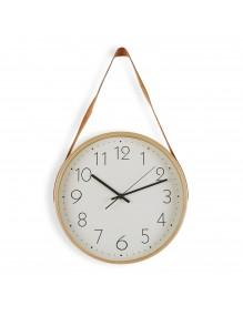 """Wooden wall clock with leather band """"Cream"""""""