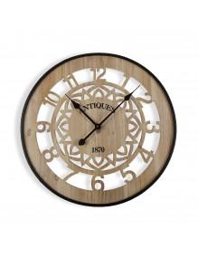 Reloj de pared de madera y metal de 60 cm de diámetro