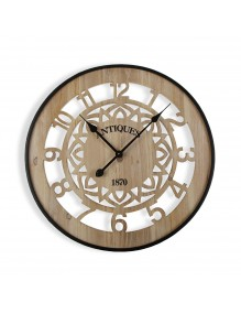 Wooden and metal wall clock with a diameter of 60 cm.