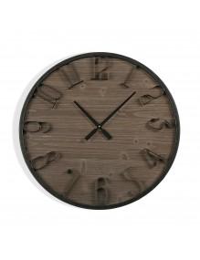 """Reloj de pared de madera y metal de 60 cm de diámetro. Modelo """"Bodega"""""""
