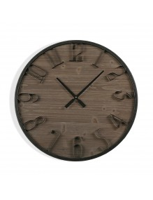 """Wooden and metal wall clock with a diameter of 60 cm, model """"Bodega"""""""