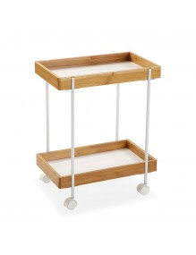 """Cart with basket and two shelves in white, model """"White"""""""