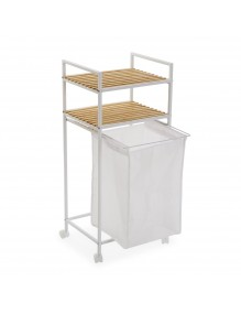 Cart with basket and two shelves in white