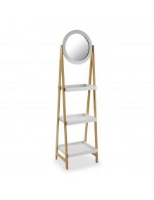 "Bathroom shelf with wheels, 3 shelves and a mirror - model ""Mirror"""