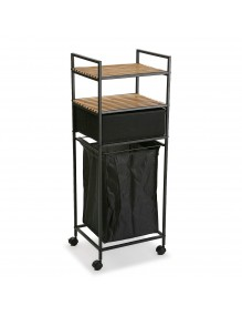 """Cart with basket and two shelves in black, model """"Gym"""""""