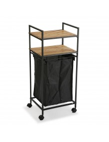 Cart with basket and two shelves in black