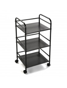 """Cart with basket and three shelves in black, model """"Round"""""""