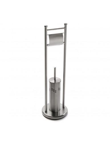 """Stainless steel roll and toilet brush holder, model """"Doble"""""""