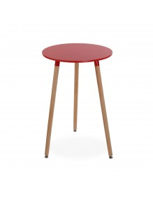 """Wooden table in red, model """"Round"""""""