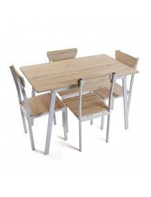 Juego de mesa y 4 sillas, modelo Tauro