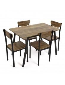 Juego de mesa y 4 sillas, modelo Tauro - Negro