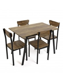 Set of table and 4 chairs, model Tauro - Black