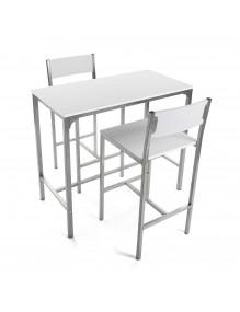 Juego de mesa y 2 sillas, modelo London - Blanca